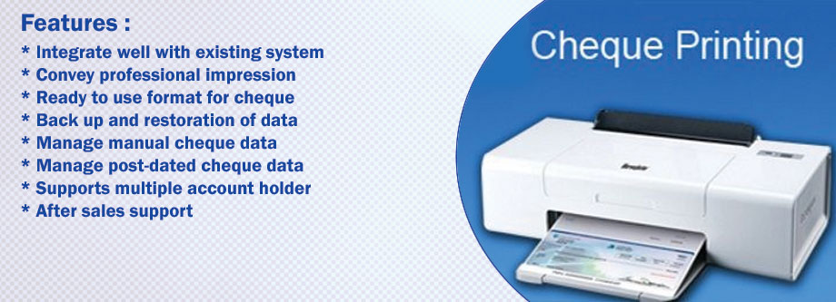 Window Based Cheque Printing Software in Ahmedabad India